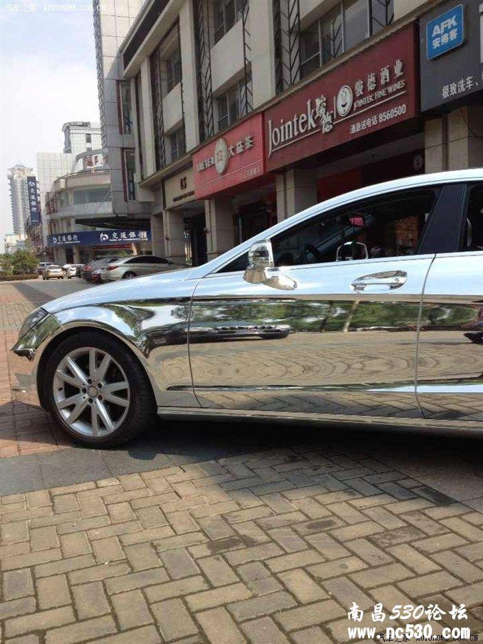 奔驰cls300电镀银贴膜 摄人心魂的电镀银哇高清图片